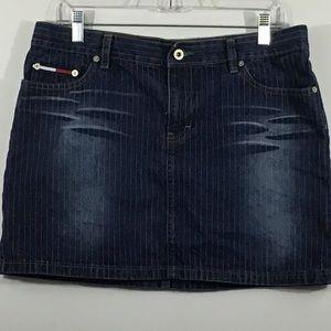 Tommy Hilfiger Pinstripe Distressed Jean Skirt